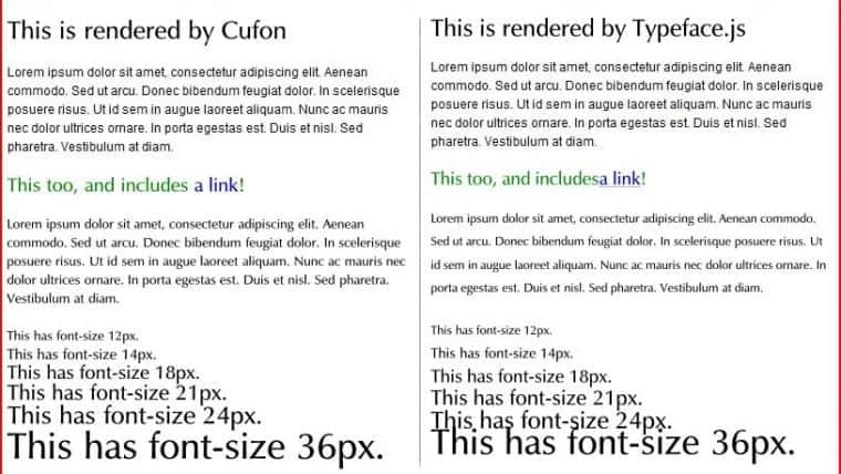 Cufon ve En Yakın Rakibi Typeface'in Karşılaştırması