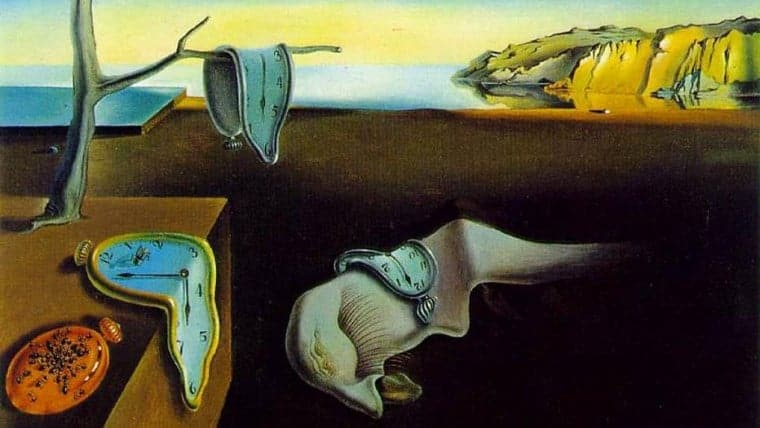 An abstract painting: Melting Clocks by Salvador Dali