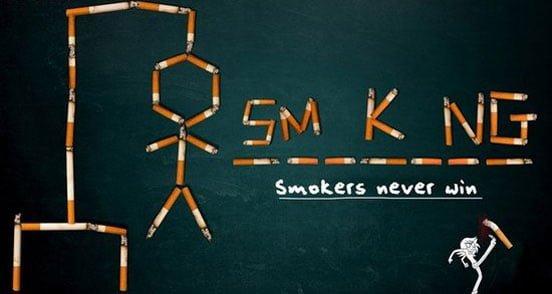 Sigara içenler asla kazanamaz.