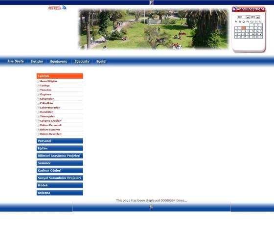 Bölümümüz Web Sitesinin İngilizce (!) Ana Sayfası