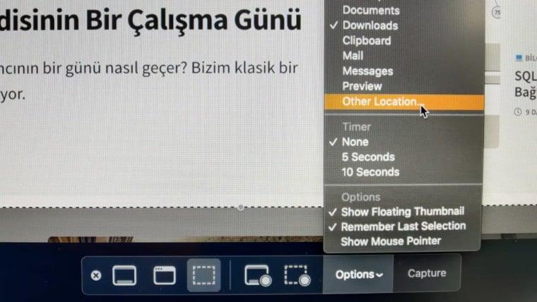 ekran goruntusu kaydetme ayarlari options mac